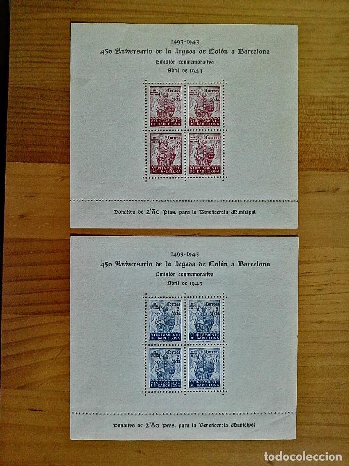 EDIFIL 51 Y 52 - ABRIL 1943 - H.B. 450º ANIVERSARIO DE LA LLEGADA DE COLÓN A BARCELONA. (Sellos - España - II Centenario De 1.950 a 1.975 - Nuevos)