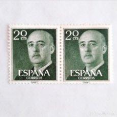 Sellos: 2 SELLOS UNIDOS EDIFIL 1145 GENERAL FRANCO 20 CENTIMOS PESETA 1955 USADO. Lote 232830940