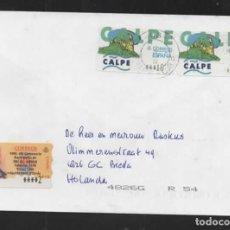 Sellos: ESPAÑA SELLOS ATM TERMICOS 1999 SOBRES CON ETIQUETA DE CALPE. Lote 233940120