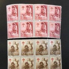 Sellos: 1953-ESPAÑA EDIFIL 1121/23 MNH** PRO TUBERCULOSOS BLOQUÉ DE 8 - SELLO NUEVO SIN CHARNELA -. Lote 235123750