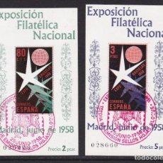 Sellos: 1958. EXPOSICIÓN FILATÉLICA NACIONAL BRUSELAS HOJAS BLOQUE MATASELLADAS EDIFIL Nº 1222/1223. Lote 235349425