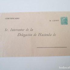 Sellos: ER * CARTA SR INTERVENTOR DE LA DELEGACION DE HACIENDA * CERTIFICADO. Lote 235608315