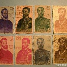 Sellos: ESPAÑA 1960 - FORJADORES DE AMERICA - EDIFIL 1298 A 1305 - SERIE COMPLETA.. Lote 236022285