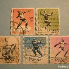 Sellos: ESPAÑA 1964 - JUEGOS OLÍMPICOS DE INNSBRUCK Y TOKIO - EDIFIL 1617 A 1621 - SERIE COMPLETA.. Lote 236022840