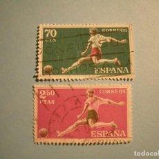 Sellos: ESPAÑA 1960 - DEPORTES - EDIFIL 1308 Y 1313 - FÚTBOL.. Lote 236027215