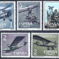 Sellos: EDIFIL 1401-1405 ANIVERSARIO DE LA AVIACIÓN ESPAÑOLA 1961 (SERIE COMPLETA). MNH **. Lote 236903865