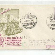 Sellos: CIRCULADA 1951 EXPOSICION FILATELICA DE MOYA A SABADELL BARCELONA. Lote 237081025