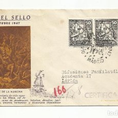 Sellos: SPD CERVANTES CIRCULADA 1947 DE MADRID A BARCELONA. Lote 237084505