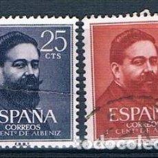 Sellos: ESPAÑA 1960 I CENTENARIO NACIMIENTO DE ISAAC ALBENIZ EDIFIL 1320/1321 SERIE USADA. Lote 237578130