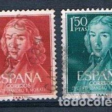 Sellos: ESPAÑA 1961 II CENTENARIO NACIMIENTO DE LEANDRO FERNÁNDEZ DE MORATÍN EDIFIL 1328/1329 SERIE USADA. Lote 237578455