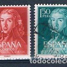 Sellos: ESPAÑA 1961 II CENTENARIO NACIMIENTO DE LEANDRO FERNÁNDEZ DE MORATÍN EDIFIL 1328/1329 SERIE USADA. Lote 237578530