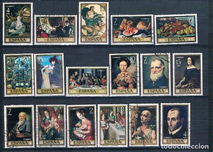 ESPAÑA 32 SELLOS PINTORES AÑOS 70 USADOS DOS FOTOGRAFÍAS (Sellos - España - II Centenario De 1.950 a 1.975 - Usados)
