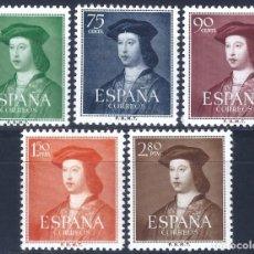 Sellos: EDIFIL 1106-1110 V CENTENARIO FERNANDO EL CATÓLICO 1952 (SERIE COMPLETA). MLH. VALOR CAT. 43 €.. Lote 242334000