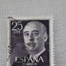 Sellos: EDIFIL 1146 GENERAL FRANCO 25 CENTIMOS PESETA 1955 USADO. Lote 242418100
