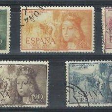 Sellos: SELLOS DE ESPAÑA1951 V CENTENARIO DE NACIMIENTO DE ISABEL LA CATÓLICA SERIE COMPLETA USADO. Lote 242963265