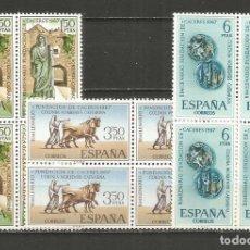 Sellos: ESPAÑA FUNDACION DE CACERES EDIFIL NUM. 1827/1829 ** SERIE COMPLETA SIN FIJASELLOS EN BLOQUE DE 4. Lote 243910050