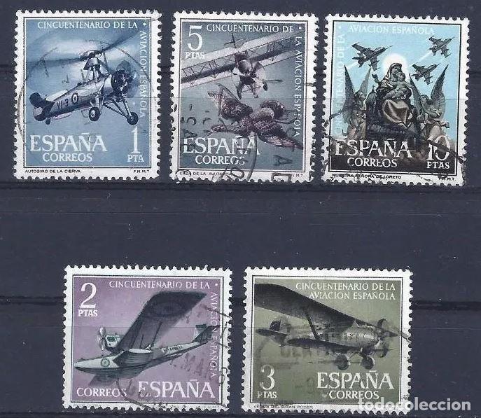 EDIFIL 1401 1405 L ANIVERSARIO AVIACIÓN ESPAÑOLA, USADOS, SIMILARES A LOS DE LA FOTO. (Sellos - España - II Centenario De 1.950 a 1.975 - Usados)
