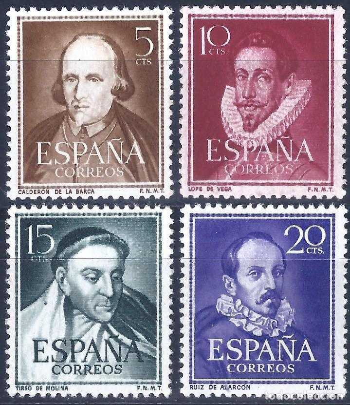 EDIFIL 1071-1074 LITERATOS 1950-1953 (SERIE COMPLETA) (VARIEDAD...EL 1073 ES DE CARA BLANCA). MNH ** (Sellos - España - II Centenario De 1.950 a 1.975 - Nuevos)