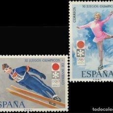 Sellos: ESPAÑA. AÑO 1972, EDIFIL 2074/75** ''JJ OO INVIERNO - SAPPORO''./ NUEVOS, SIN FIJASELLOS. MNH.. Lote 245742625