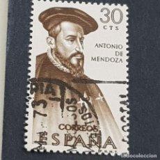 Sellos: ESPAÑA, 1966, FORJADORES DE AMÉRICA, ANTONIO DE MENDOZA, EDIFIL 1750, USADO, (LOTE AR). Lote 245944895