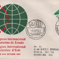 Sellos: SOBRE CERTIFICADO CON MATASELLOS DEL IV CONGRESO INTERNACIONAL DE LOTERÍAS DE ESTADO. 1962. Lote 245950015