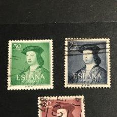 Sellos: EDIFIL 1106 1107 1108 FERNANDO EL CATÓLICO , USADOS , CATÁLOGO 6,5€. Lote 246351265