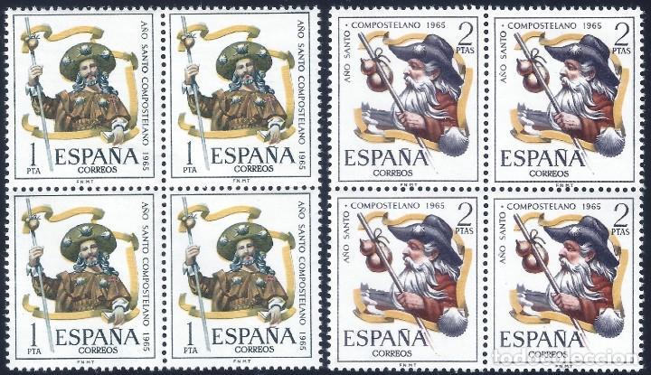 EDIFIL 1672-1673 AÑO SANTO COMPOSTELANO 1965 (SERIE COMPLETA EN BLOQUES DE 4). MNH ** (Sellos - España - II Centenario De 1.950 a 1.975 - Nuevos)