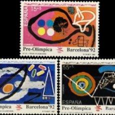 Sellos: ESPAÑA. AÑO 1991, EDIFIL 3134/36** ''BARCELONA 92: VII SER. PRE-OLÍMPICA''./ NUEVOS, SIN FIJASELLOS.. Lote 263082745