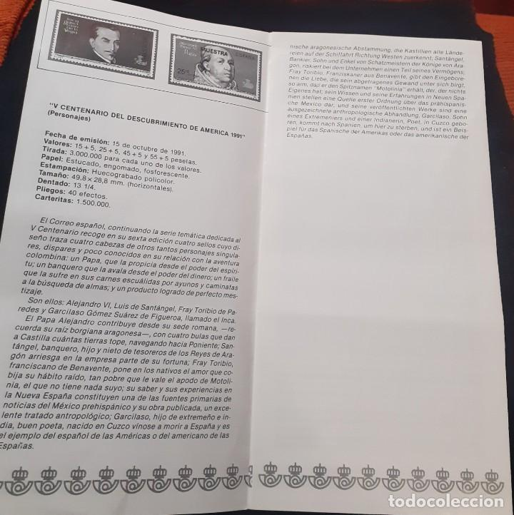 Sellos: carpeta de sellos nueva y Diptico con la Informacion de la serie Personajes del V Centenario - Foto 5 - 251817750