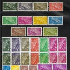 Sellos: ESPAÑA. AÑOS 1955-1956.SUPERCONSTELLATION Y NAO STA MARÍA. 5 SERIES COMPLETAS NUEVAS SIN FIJA SELLOS. Lote 252988095