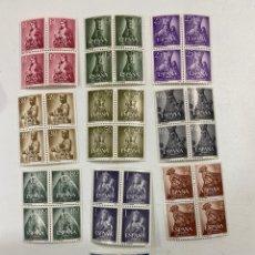 Sellos: ESPAÑA. 1954. EDIFIL 1132/1141. AÑO MARIANO. BLOQUES DE 4. SERIE COMPLETA. NUEVOS. SIN FIJASELLOS. Lote 253466475