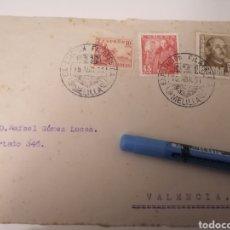 Sellos: MELILLA. EXPOSICIÓN FILATÉLICA. 1951. FRONTAL CARTA DIRIGIDA A VALENCIA. DOBLE MATASELLO. Lote 253952890