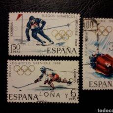 Sellos: ESPAÑA EDIFIL 1851/3 SERIE COMPLETA USADA 1968 DEPORTES. OLIMPIADA GRENOBLE. PEDIDO MÍNIMO 3€. Lote 254113115