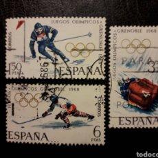 Sellos: ESPAÑA EDIFIL 1851/3 SERIE COMPLETA USADA 1968 DEPORTES. OLIMPIADA GRENOBLE. PEDIDO MÍNIMO 3€. Lote 254113135
