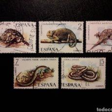 Sellos: ESPAÑA EDIFIL 2192/6 SERIE COMPLETA USADA 1974 FAUNA REPTILES. PEDIDO MÍNIMO 3€. Lote 254467085