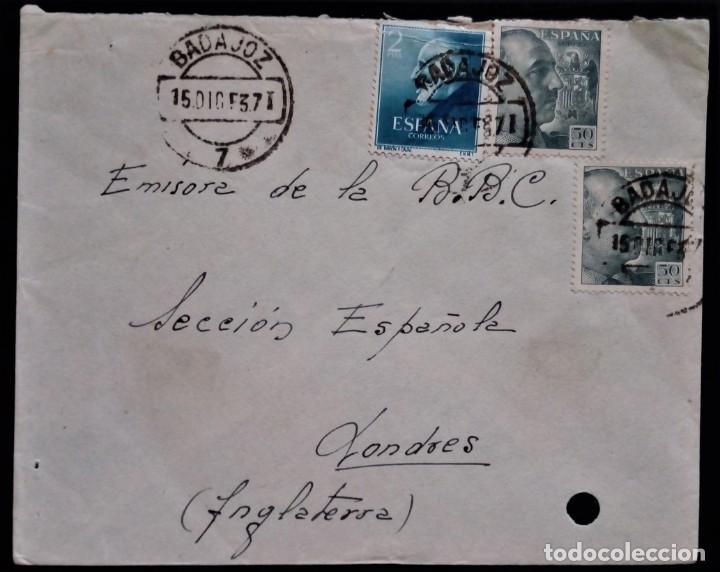 BADAJOZ EXTREMADURA 1953 FRANCO RAMON Y CAJAL REVERSO AMBULANTE MERIDA CÁCERES (Sellos - España - II Centenario De 1.950 a 1.975 - Cartas)