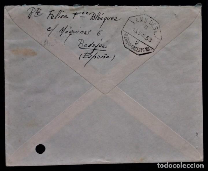 Sellos: BADAJOZ EXTREMADURA 1953 FRANCO RAMON Y CAJAL REVERSO AMBULANTE MERIDA CÁCERES - Foto 2 - 254549805