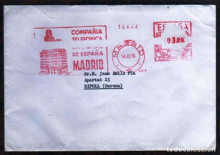 GIROEXLIBRIS.- BONITO SOBRE CIRCULADO CON MATASELLOS MECÁNICOS METER STAMPS COMPAÑÍA DE TELEFÓNICA (Sellos - España - II Centenario De 1.950 a 1.975 - Cartas)