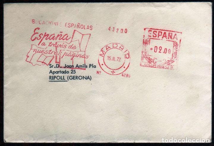 GIROEXLIBRIS.-SOBRE CIRCULADO MATASELLOS MECÁNICOS METER STAMPS ESPAÑA A TRAVÉS DE NUESTRAS PÁGINAS (Sellos - España - II Centenario De 1.950 a 1.975 - Cartas)