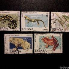 Sellos: ESPAÑA EDIFIL 2272/6 SERIE COMPLETA USADA 1975 FAUNA. ANFIBIOS. PEDIDO MÍNIMO 3€. Lote 254843895