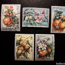 Sellos: ESPAÑA EDIFIL 2254/8 SERIE COMPLETA USADA 1975 FLORA. FRUTOS. FRUTAS. PEDIDO MÍNIMO 3€. Lote 254844010