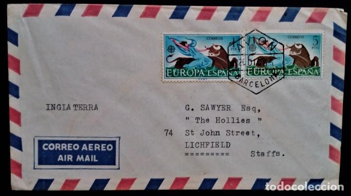 EUROPA AVION BARCELONA 1966 EDIFIL 1747 1748 TORO ZEUS RAPTO DE EUROPA (Sellos - España - II Centenario De 1.950 a 1.975 - Cartas)