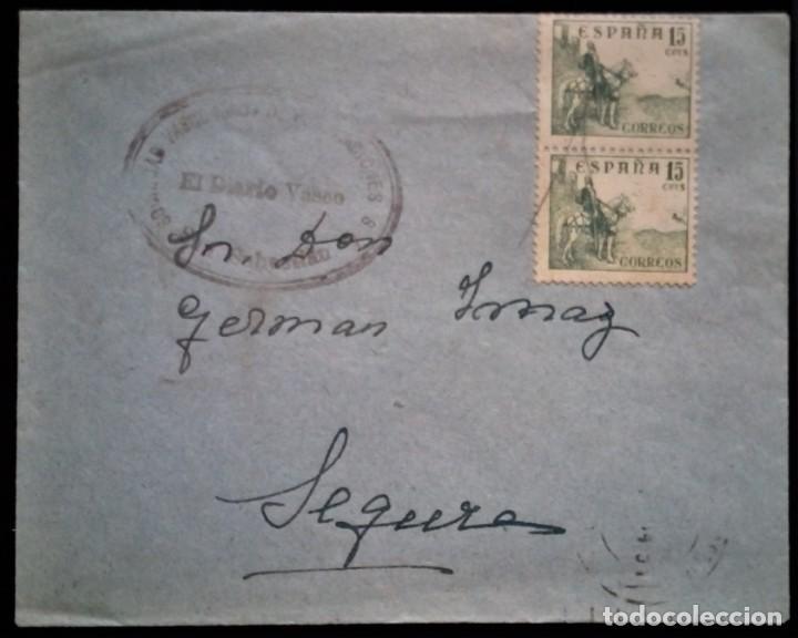 PEQUÑO SOBRE SAN SEBASTIAN MATASELLO LAPICERO MUDO CID EL DIARIO VASCO (Sellos - España - II Centenario De 1.950 a 1.975 - Cartas)