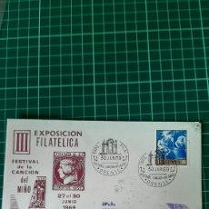 Sellos: 1969 ORENSE MATASELLO EXPOSICIÓN FILATÉLICA FESTIVAL CANCIÓN DEL MIÑO MÚSICA DESTINO SEGOVIA. Lote 257469570