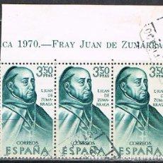 Sellos: EDIFIL 1999, FRAY JUAN DE ZUMARRAGA, FORJADORES DE AMERICA, MEJICO, USADO EN TIRA DE 3 CON CABECERA. Lote 257472670