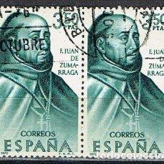Sellos: EDIFIL 1999, FRAY JUAN DE ZUMARRAGA, FORJADORES AMERICA, MEJICO, USADO EN PAREJA. Lote 257473400