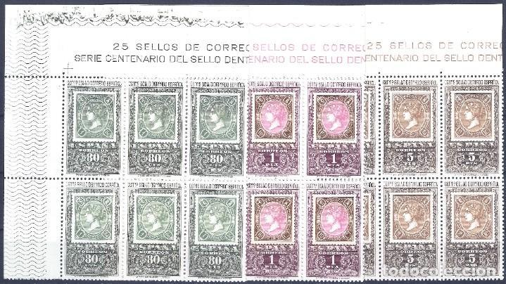 EDIFIL 1689-1691 CENTENARIO DEL PRIMER SELLO DENTADO (SERIE COMPLETA EN BLOQUES DE 6). MNH ** (Sellos - España - II Centenario De 1.950 a 1.975 - Nuevos)