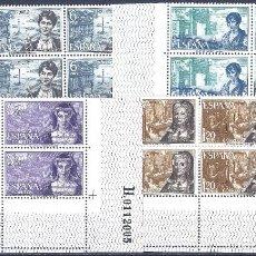Sellos: EDIFIL 1864-1867 PERSONAJES ESPAÑOLES 1968 (SERIE COMPLETA EN BLOQUES DE 4). MNH **. Lote 260806500
