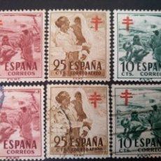 Sellos: ESPAÑA, 3 SELLOS NUEVOS + 3 USADOS, SERIE COMPLETA @. Lote 261674905