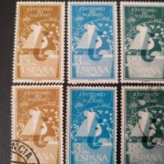 Sellos: ESPAÑA, 3 SELLOS NUEVOS + 3 USADOS, 2 SERIES COMPLETAS DE 1955 @. Lote 261675835